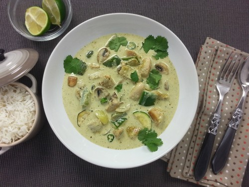 Thai-Green-Curry mit Champignons und Brechbohnen