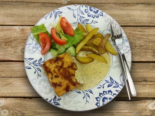 Tofuschnitzel mit Kartoffelspalten