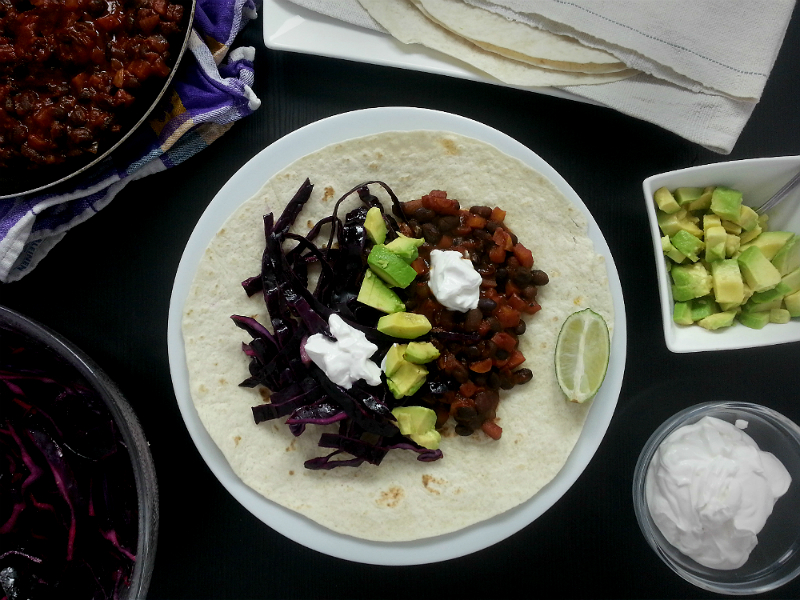 Black Bean Taco Vegan Kochbox Tischline