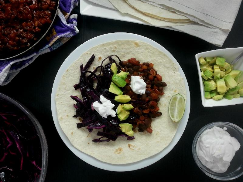 Black Bean Taco Vegan Kochbox Tischline